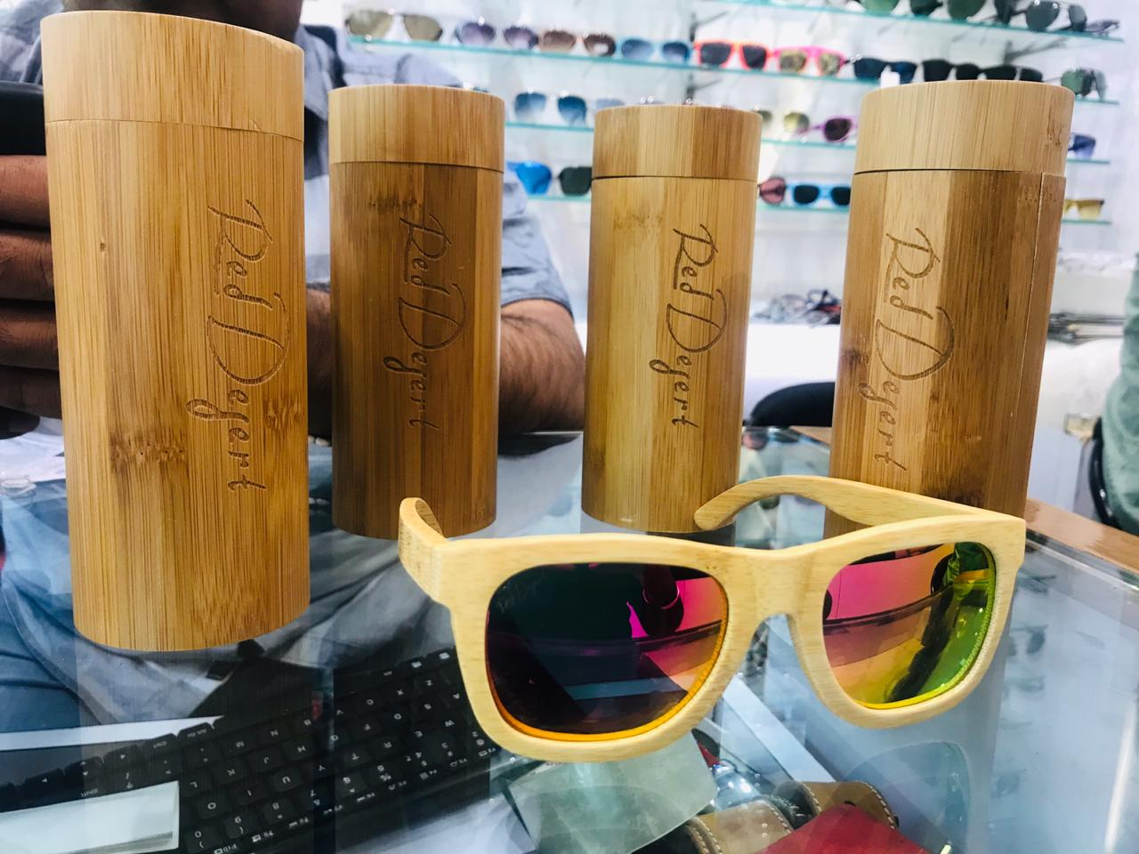 Light weight wooden Glasses with multi colored Mirrorcoded